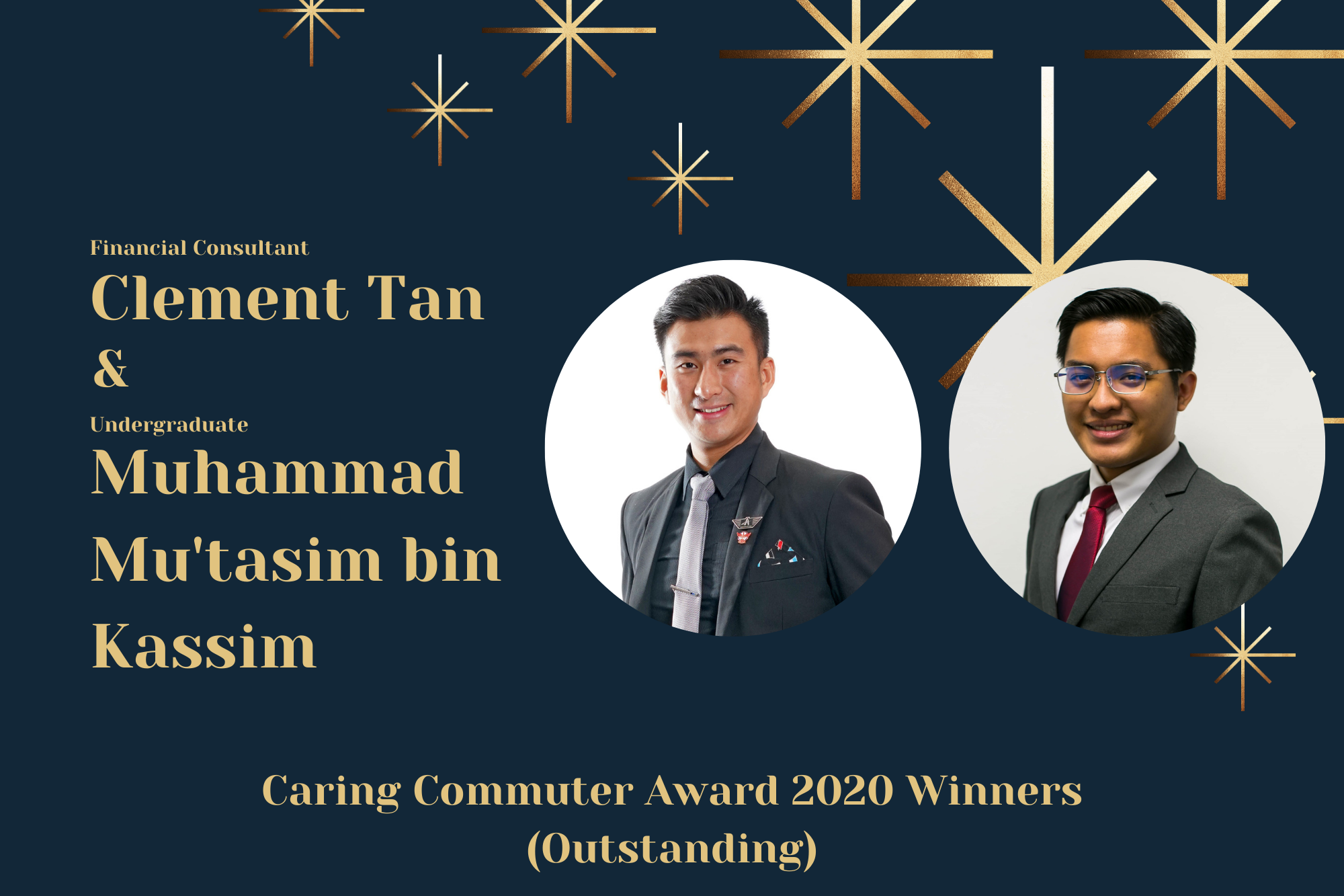 Meet Clement and Mu'tasim, A Financial Consultant and Undergraduate Pair, and Caring Commuter Award 2020 Outstanding Winners